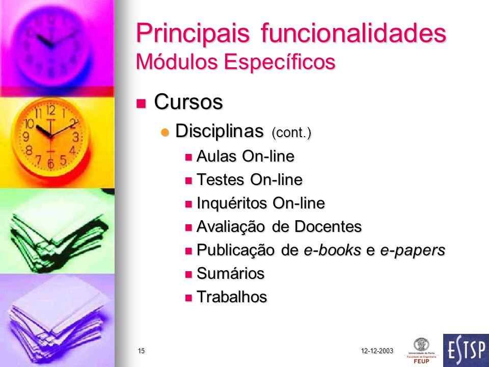 12-12-200315 Principais funcionalidades Módulos Específicos Cursos Cursos Disciplinas (cont.) Disciplinas (cont.) Aulas On-line Aulas On-line Testes O