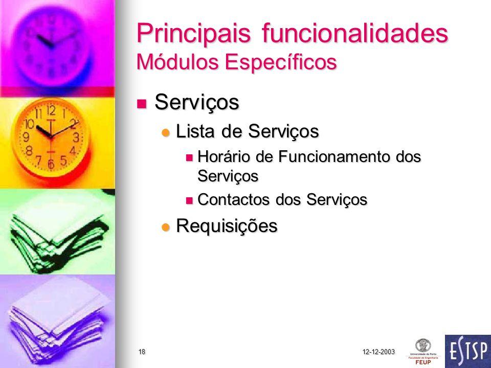 12-12-200318 Principais funcionalidades Módulos Específicos Serviços Serviços Lista de Serviços Lista de Serviços Horário de Funcionamento dos Serviço