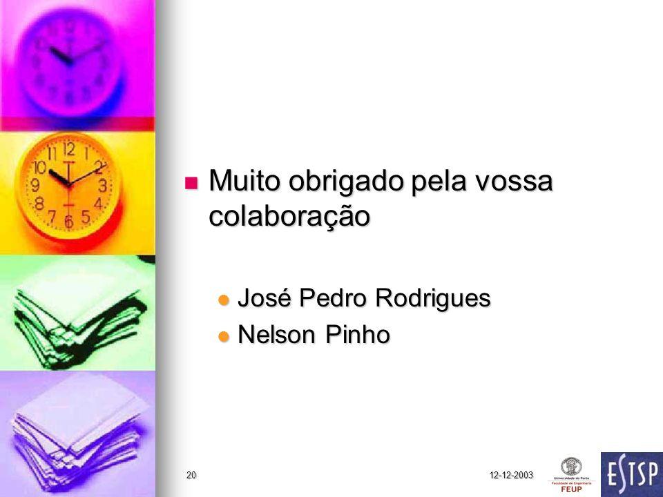 12-12-200320 Muito obrigado pela vossa colaboração Muito obrigado pela vossa colaboração José Pedro Rodrigues José Pedro Rodrigues Nelson Pinho Nelson