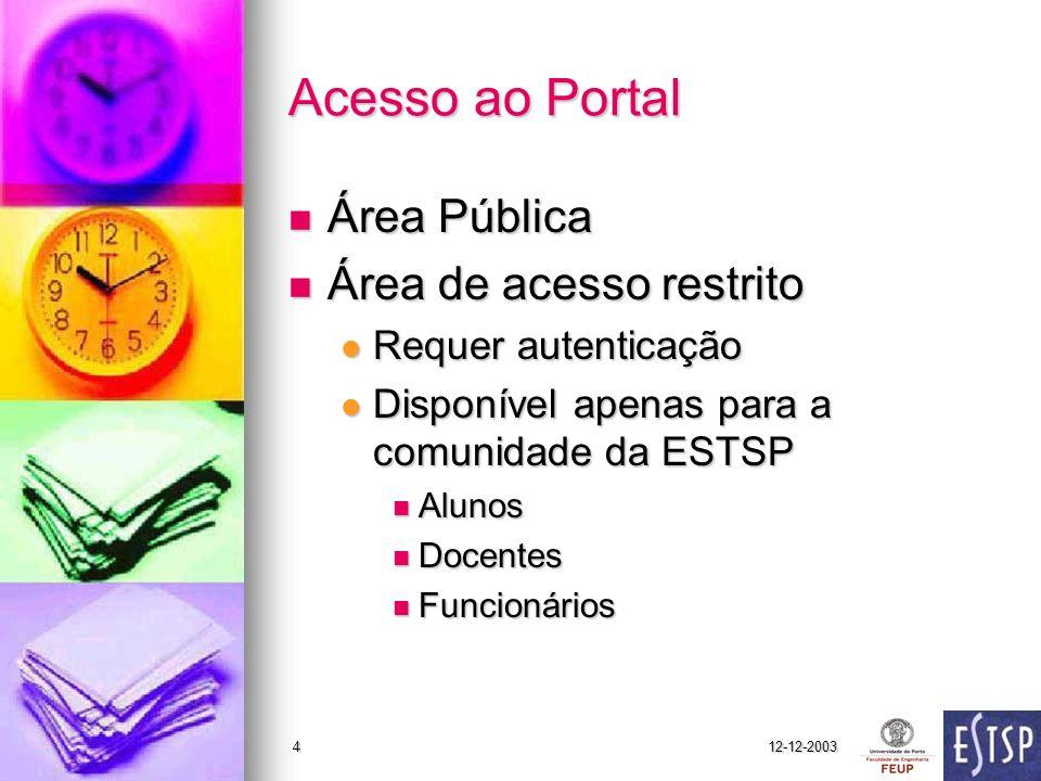 12-12-20034 Acesso ao Portal Área Pública Área Pública Área de acesso restrito Área de acesso restrito Requer autenticação Requer autenticação Disponí