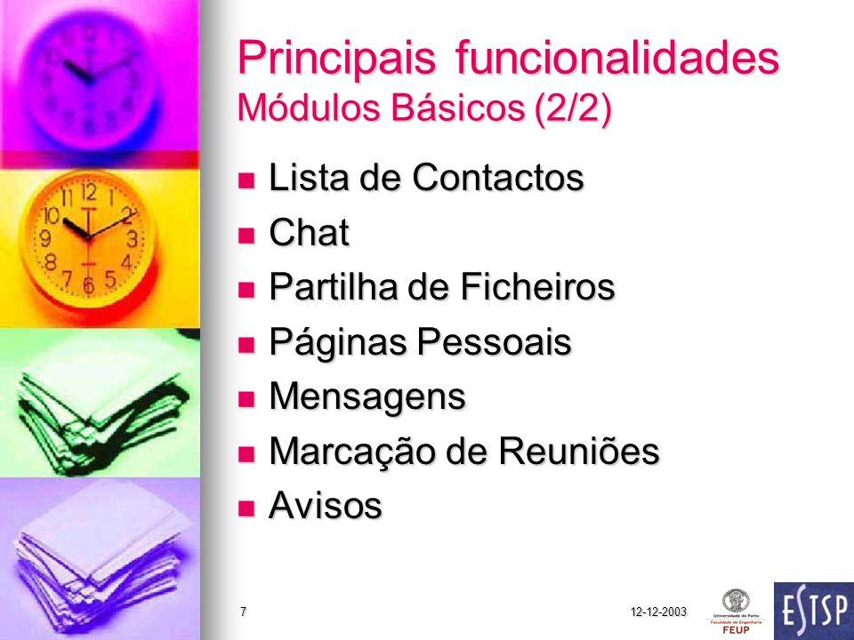12-12-20037 Principais funcionalidades Módulos Básicos (2/2) Lista de Contactos Lista de Contactos Chat Chat Partilha de Ficheiros Partilha de Ficheir