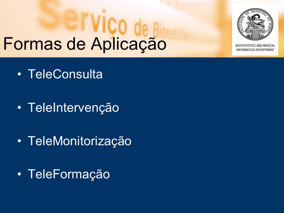 Formas de Aplicação TeleConsulta TeleIntervenção TeleMonitorização TeleFormação