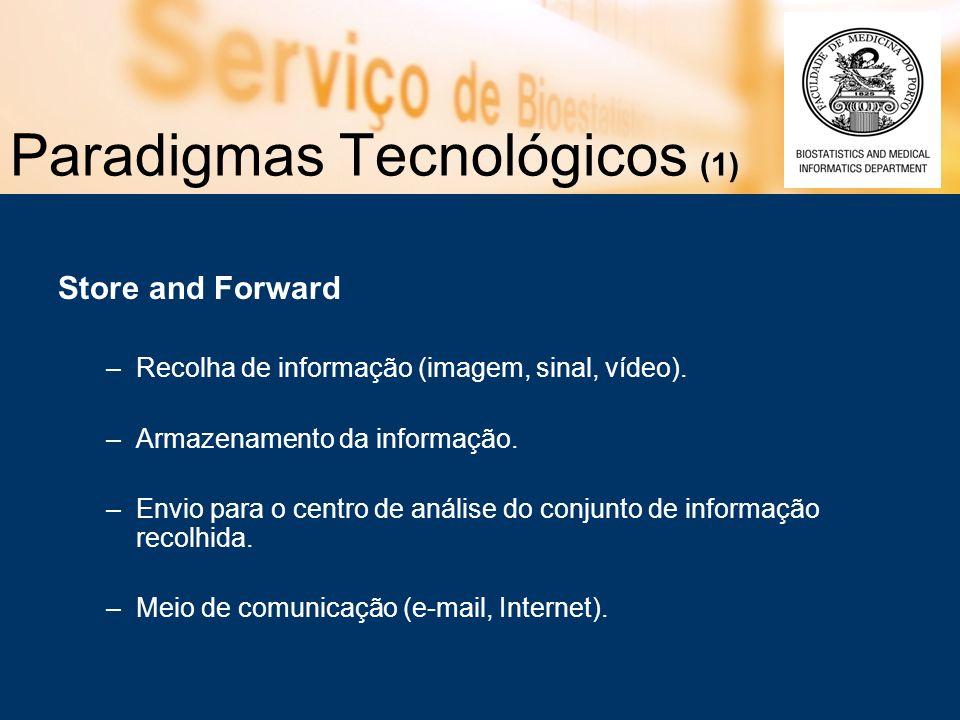 Paradigmas Tecnológicos (1) Store and Forward –Recolha de informação (imagem, sinal, vídeo).