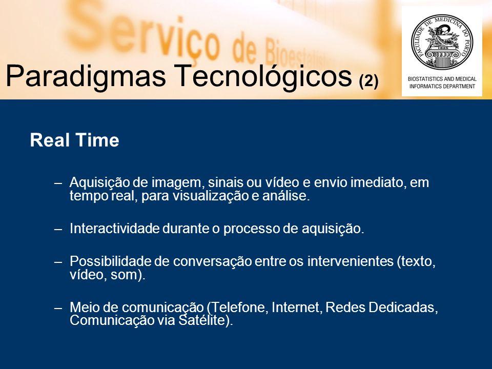 Paradigmas Tecnológicos (2) Real Time –Aquisição de imagem, sinais ou vídeo e envio imediato, em tempo real, para visualização e análise.