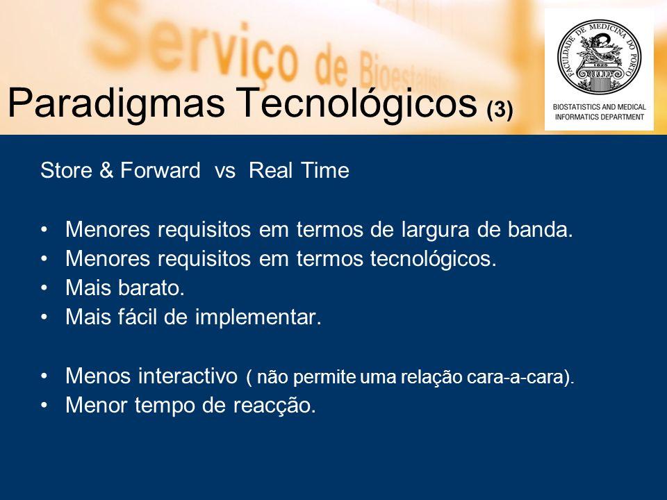 Paradigmas Tecnológicos (3) Store & Forward vs Real Time Menores requisitos em termos de largura de banda.