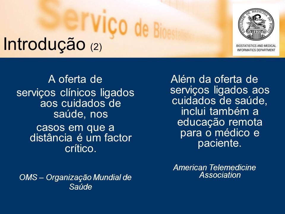 Introdução (2) A oferta de serviços clínicos ligados aos cuidados de saúde, nos casos em que a distância é um factor crítico.
