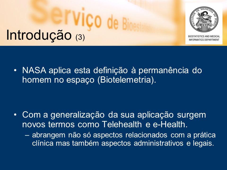 Introdução (3) NASA aplica esta definição à permanência do homem no espaço (Biotelemetria).