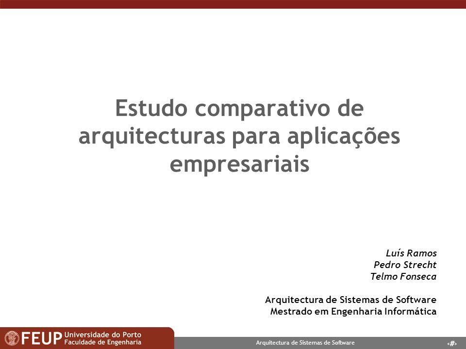 2 Arquitectura de Sistemas de Software Contexto n Arquitecturas para aplicações empresariais n Diversos aspectos comuns nas arquitecturas independentes da plataforma tecnológica Estilos de Arquitectura Design Patterns n Plataformas Sun s J2EE Microsoft.NET