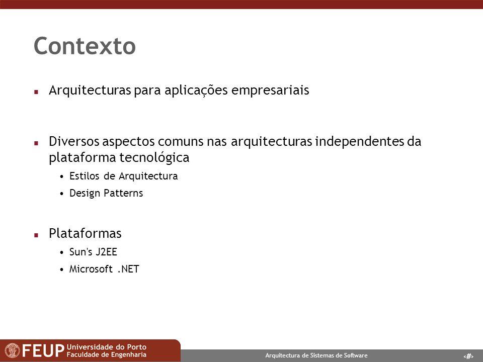 3 Arquitectura de Sistemas de Software Objectivos n Estudo das plataformas n Implementação de uma pequena aplicação empresarial em ambas as plataformas n Análise crítica comparativa Das plataformas Da instanciação dos Design Patterns Das aplicações