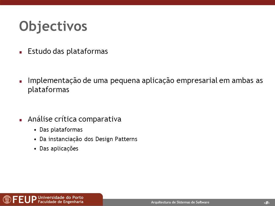 4 Arquitectura de Sistemas de Software Estudo das plataformas n Aprender a desenvolver nas plataformas Linguagens de programação (C#, ASP.NET, Java, JSPs) Arquitectura dos serviços Os componentes das frameworks n Identificação de Design Patterns Estudo das implementações Comparação das implementações
