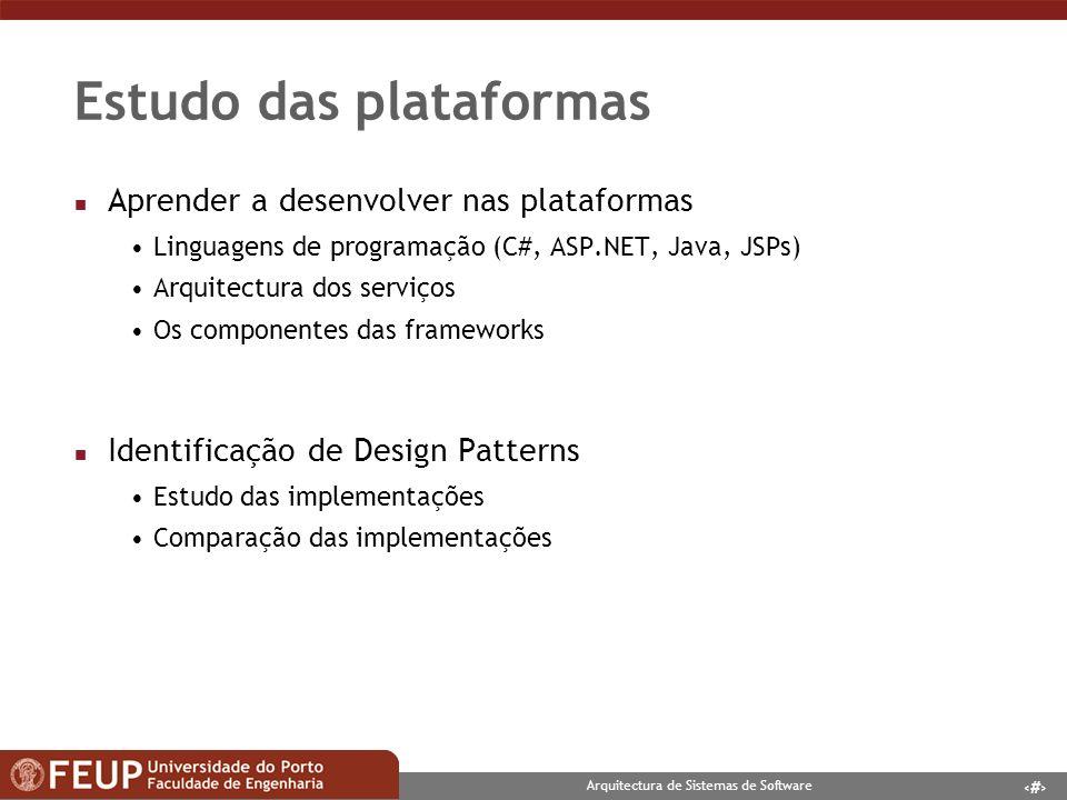 5 Arquitectura de Sistemas de Software Contexto da aplicação n Desenvolvimento de uma aplicação Web Implementação de Design Patterns em ambas as plataformas Comparação das implementações -Facilidade -Flexibilidade n Sun s J2EE Java, OC4J, Apache n Microsoft.NET ASP.NET, C#, IIS