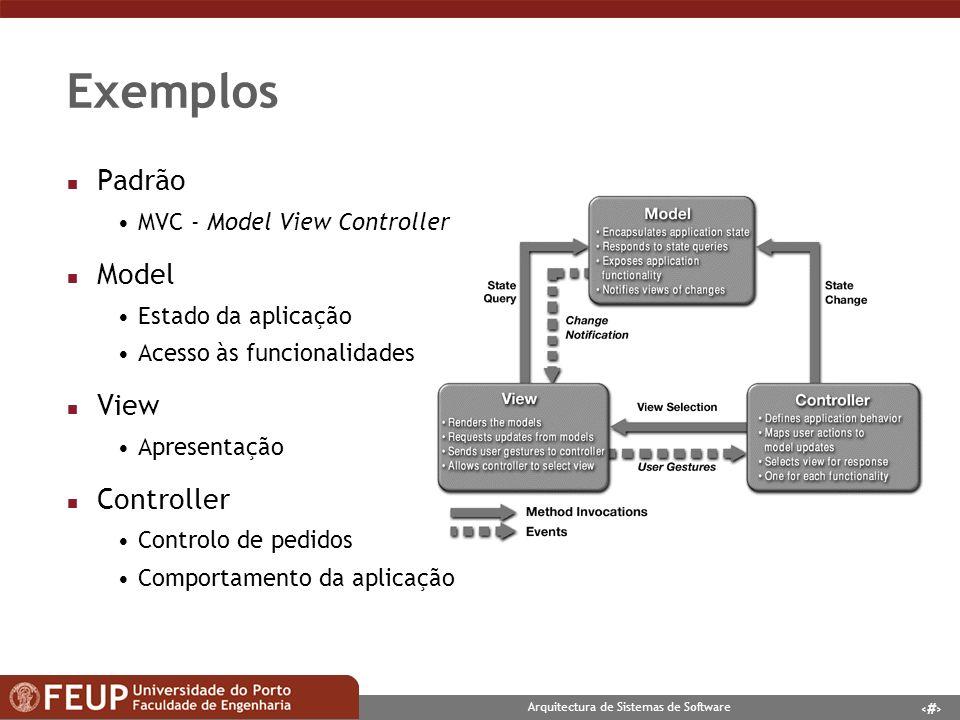 7 Arquitectura de Sistemas de Software Exemplos n Padrão PageController