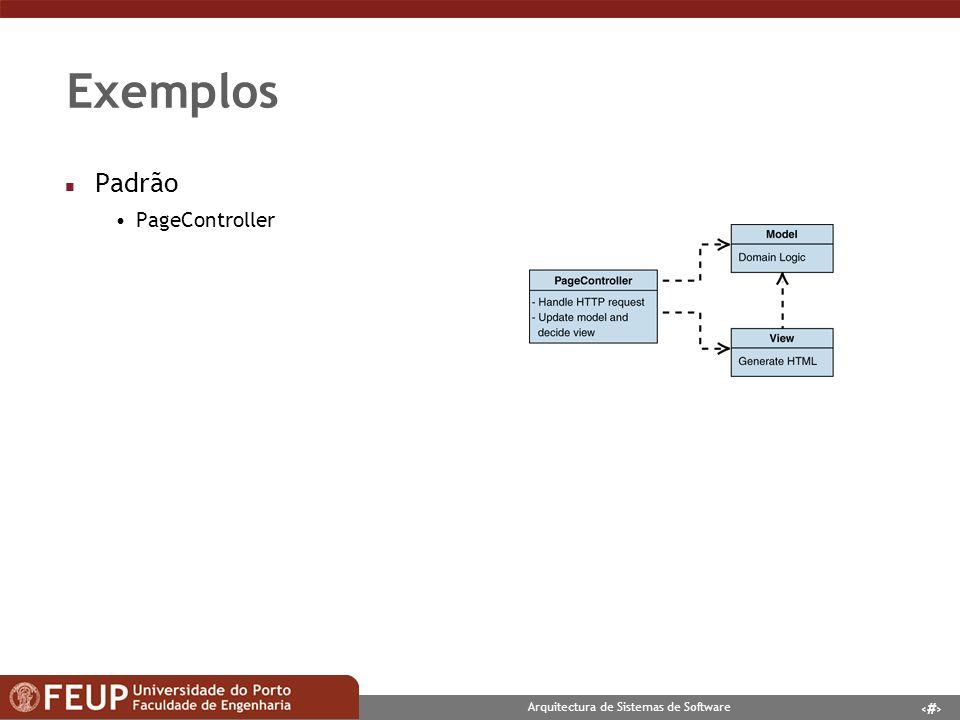 8 Arquitectura de Sistemas de Software Exemplos n Padrão Class Table Inheritance n Contexto: Mapeamento de modelo de dados em objectos n Problema: Tabelas com relações de 1 para 1 n Solução: Classes com herança