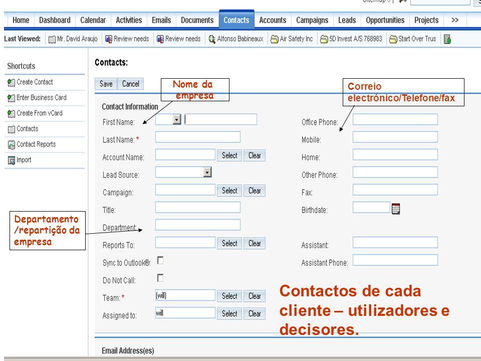 Contactos de cada cliente – utilizadores e decisores. Nome da empresa Departamento /repartição da empresa Correio electrónico/Telefone/fax