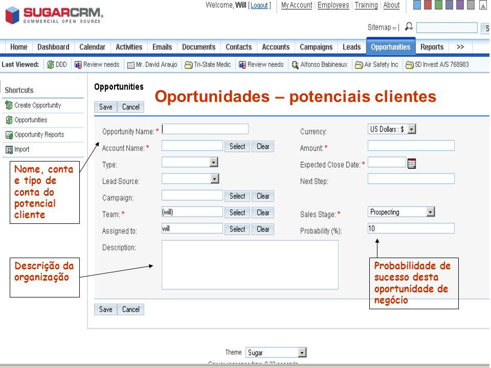 Oportunidades – potenciais clientes Nome, conta e tipo de conta do potencial cliente Descrição da organização Probabilidade de sucesso desta oportunid