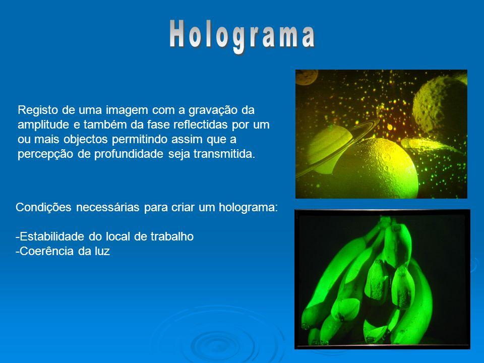 Condições necessárias para criar um holograma: -Estabilidade do local de trabalho -Coerência da luz Registo de uma imagem com a gravação da amplitude e também da fase reflectidas por um ou mais objectos permitindo assim que a percepção de profundidade seja transmitida.