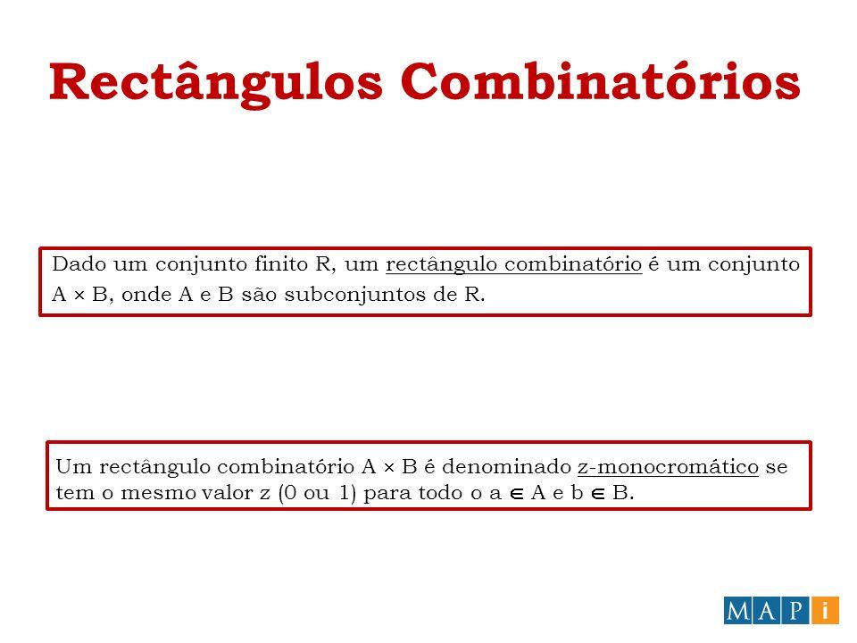 Rectângulos Combinatórios Um rectângulo combinatório A B é denominado z-monocromático se tem o mesmo valor z (0 ou 1) para todo o a A e b B.