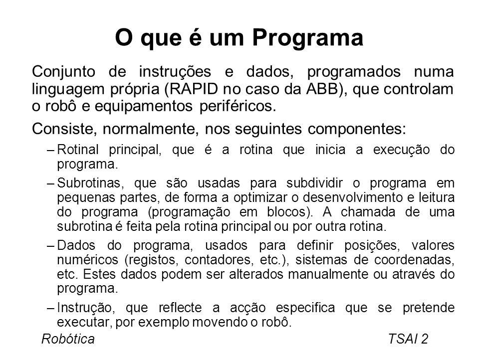 Robótica TSAI 3 Módulos A memória do programa contém, adicionalmente, um sistema de módulos, que são programas que estão sempre presentes na memória.
