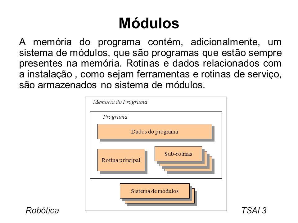 Robótica TSAI 4 Rotinas Estrutura do programa: –O programa deve ser dividido em várias subrotinas para facilitar a leitura do programa.