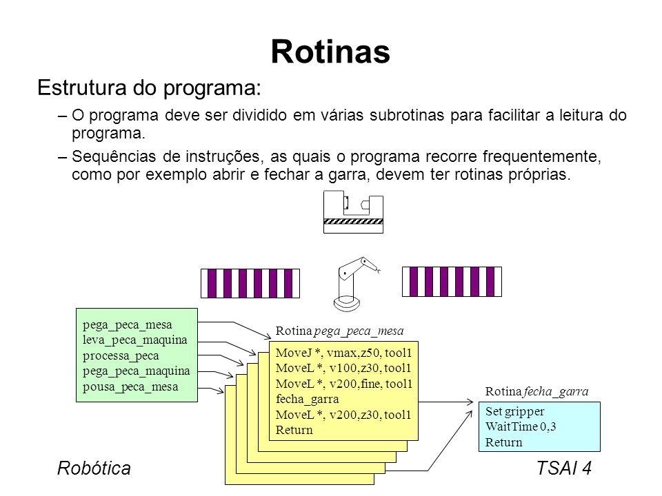Robótica TSAI 5 Tipos de Rotinas Existem três tipos de rotinas: –Procedimentos, que podem ser descritos como um número de instruções que executam uma tarefa especifica, como seja trocar de ferramenta, soldar uma peça, etc.