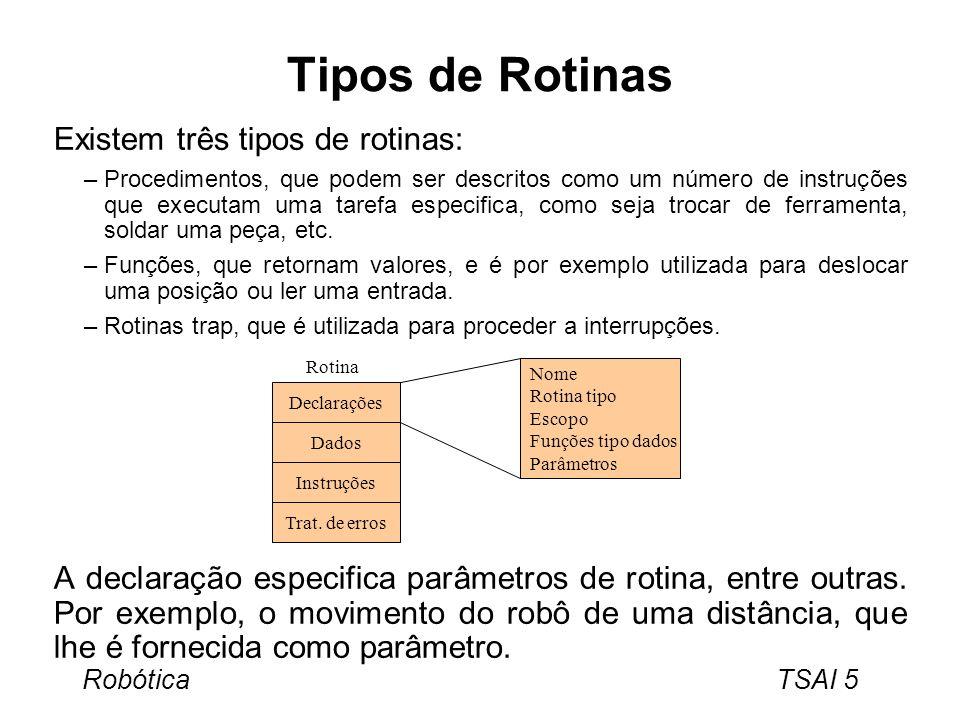 Robótica TSAI 6 Instruções Tarefa especifica a realizar quando é executada.