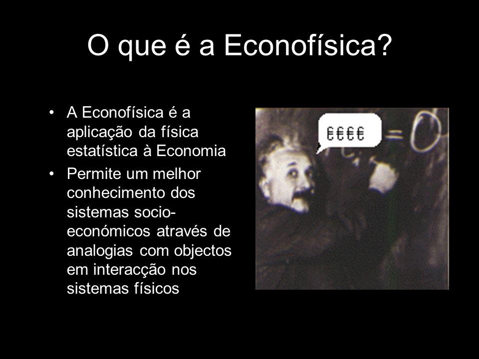 O que é a Econofísica? A Econofísica é a aplicação da física estatística à Economia Permite um melhor conhecimento dos sistemas socio- económicos atra