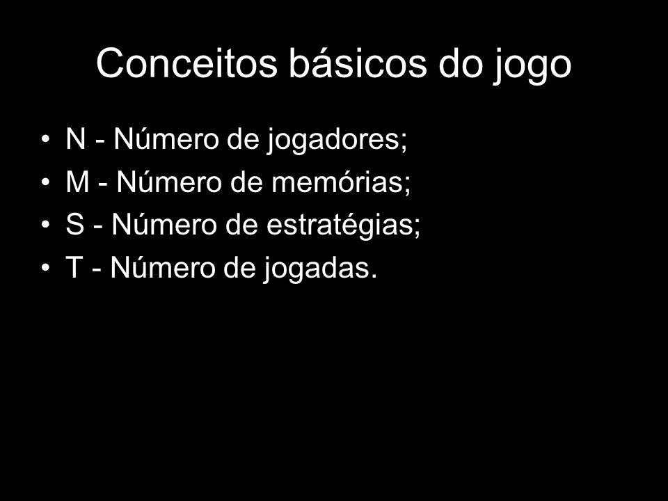 Conceitos básicos do jogo N - Número de jogadores; M - Número de memórias; S - Número de estratégias; T - Número de jogadas.
