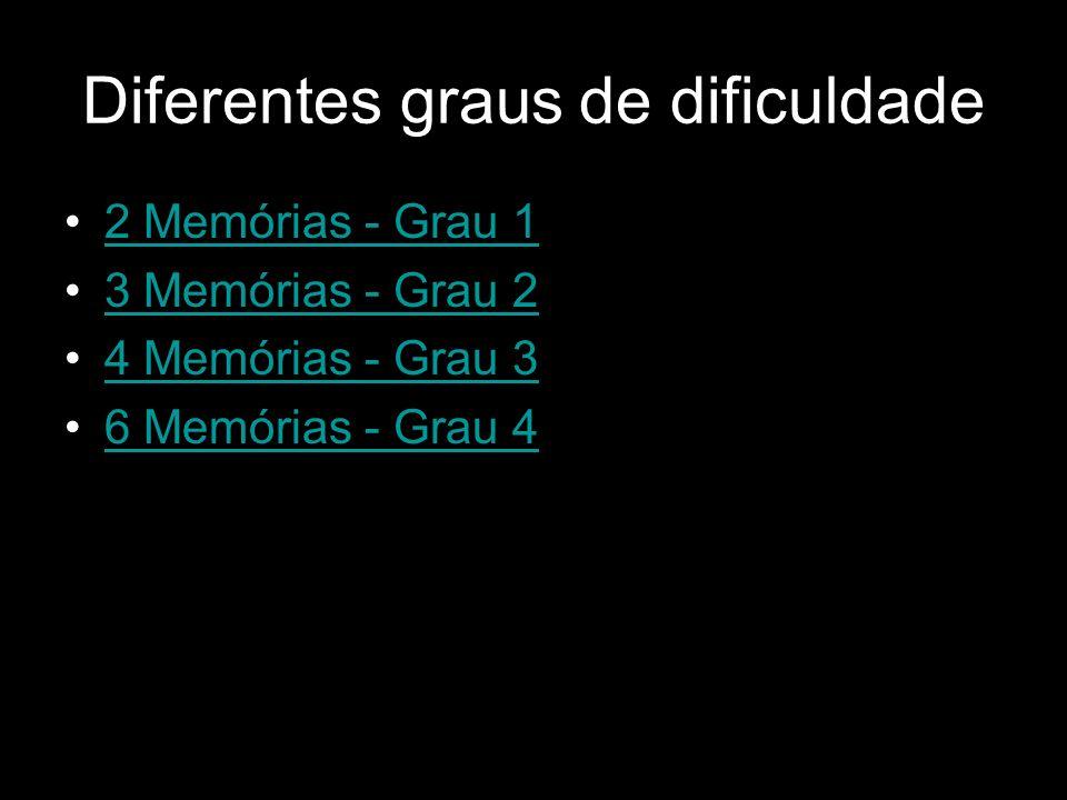 Diferentes graus de dificuldade 2 Memórias - Grau 1 3 Memórias - Grau 2 4 Memórias - Grau 3 6 Memórias - Grau 4
