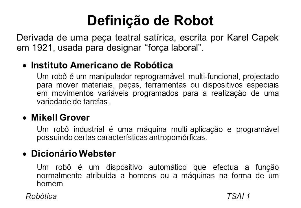Robótica TSAI 1 Definição de Robot Derivada de uma peça teatral satírica, escrita por Karel Capek em 1921, usada para designar força laboral. Institut
