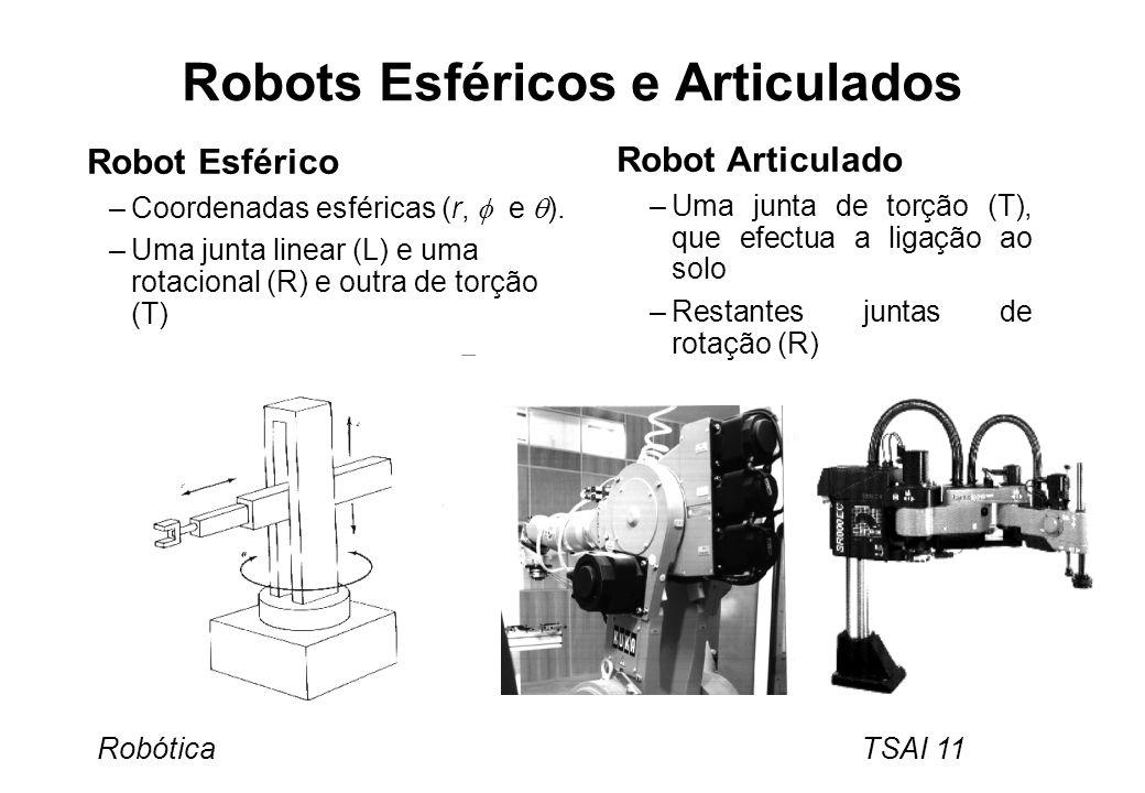 Robótica TSAI 11 Robots Esféricos e Articulados Robot Esférico –Coordenadas esféricas (r, e ). –Uma junta linear (L) e uma rotacional (R) e outra de t