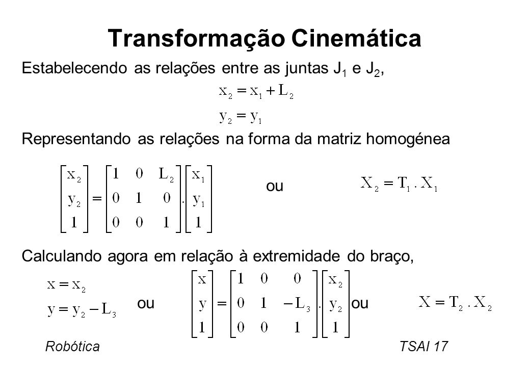Robótica TSAI 17 Transformação Cinemática Estabelecendo as relações entre as juntas J 1 e J 2, Representando as relações na forma da matriz homogénea