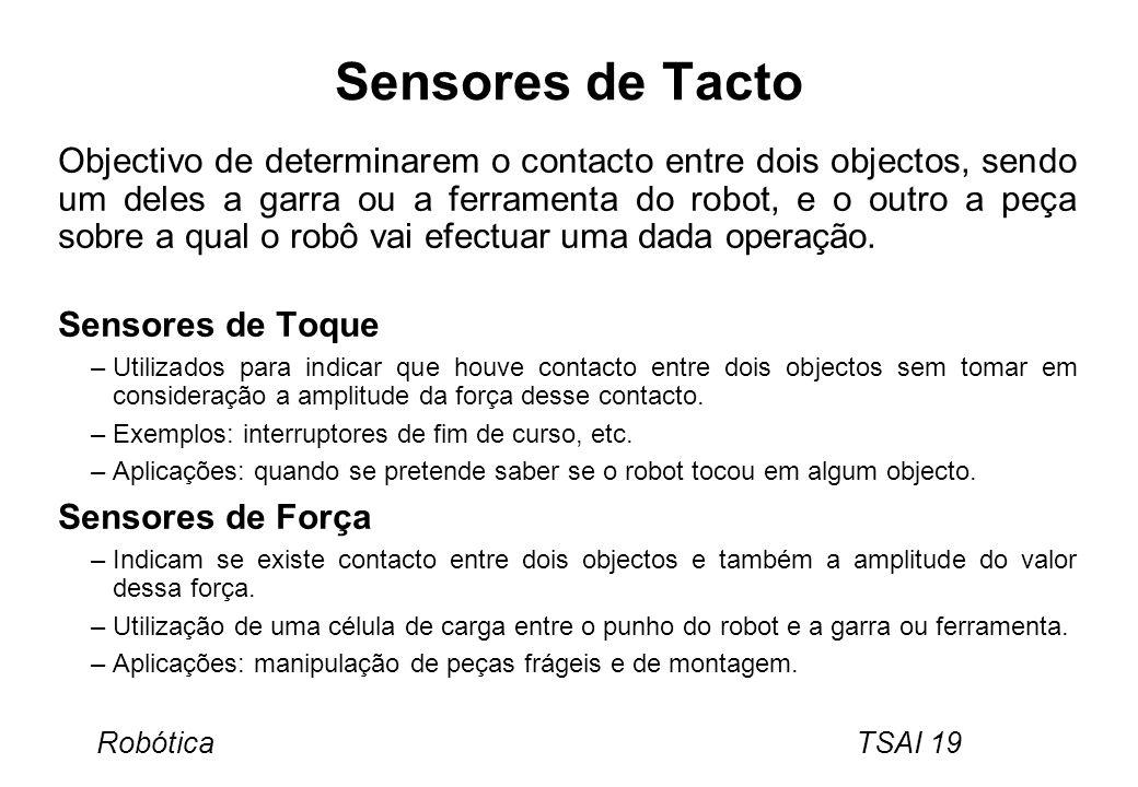 Robótica TSAI 19 Sensores de Tacto Objectivo de determinarem o contacto entre dois objectos, sendo um deles a garra ou a ferramenta do robot, e o outr
