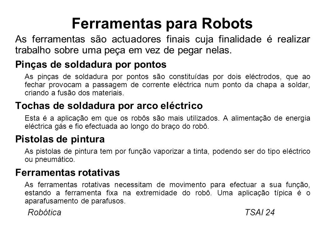 Robótica TSAI 24 Ferramentas para Robots As ferramentas são actuadores finais cuja finalidade é realizar trabalho sobre uma peça em vez de pegar nelas