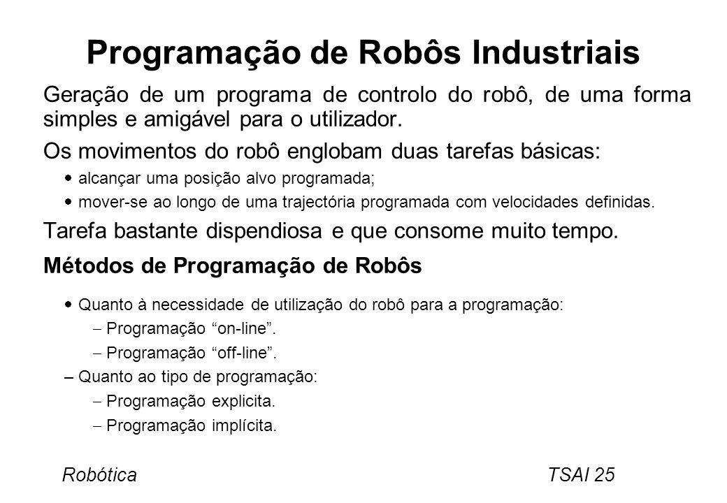Robótica TSAI 25 Programação de Robôs Industriais Geração de um programa de controlo do robô, de uma forma simples e amigável para o utilizador. Os mo