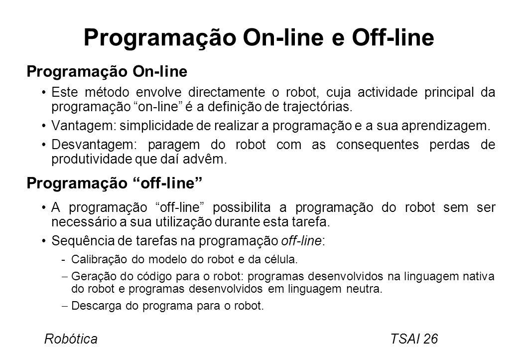 Robótica TSAI 26 Programação On-line e Off-line Programação On-line Este método envolve directamente o robot, cuja actividade principal da programação