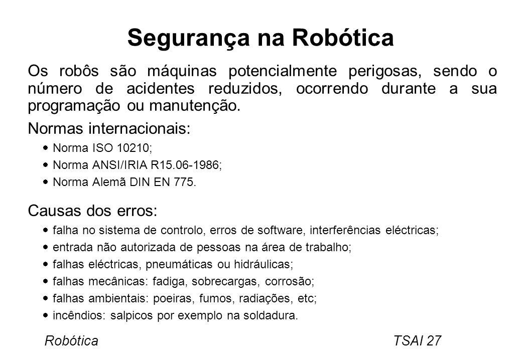 Robótica TSAI 27 Segurança na Robótica Os robôs são máquinas potencialmente perigosas, sendo o número de acidentes reduzidos, ocorrendo durante a sua