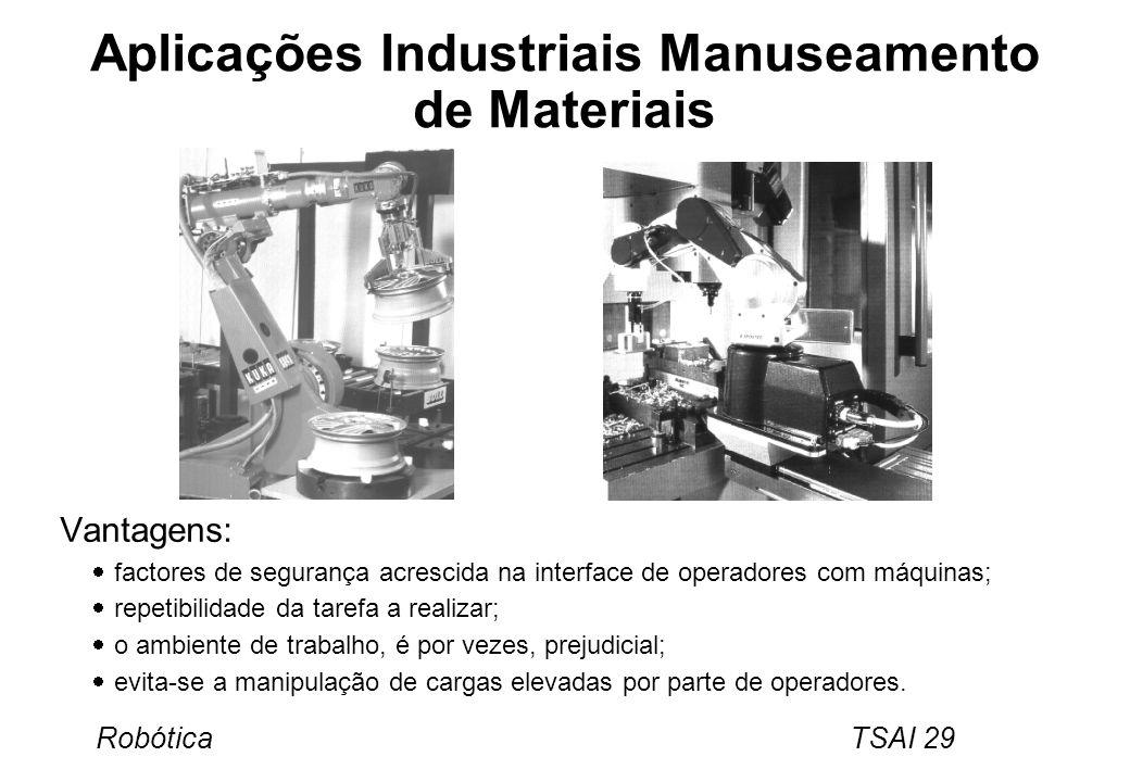 Robótica TSAI 29 Aplicações Industriais Manuseamento de Materiais Vantagens: factores de segurança acrescida na interface de operadores com máquinas;