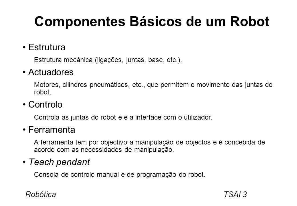 Robótica TSAI 3 Componentes Básicos de um Robot Estrutura Estrutura mecânica (ligações, juntas, base, etc.). Actuadores Motores, cilindros pneumáticos