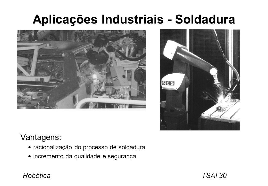 Robótica TSAI 30 Aplicações Industriais - Soldadura Vantagens: racionalização do processo de soldadura; incremento da qualidade e segurança.