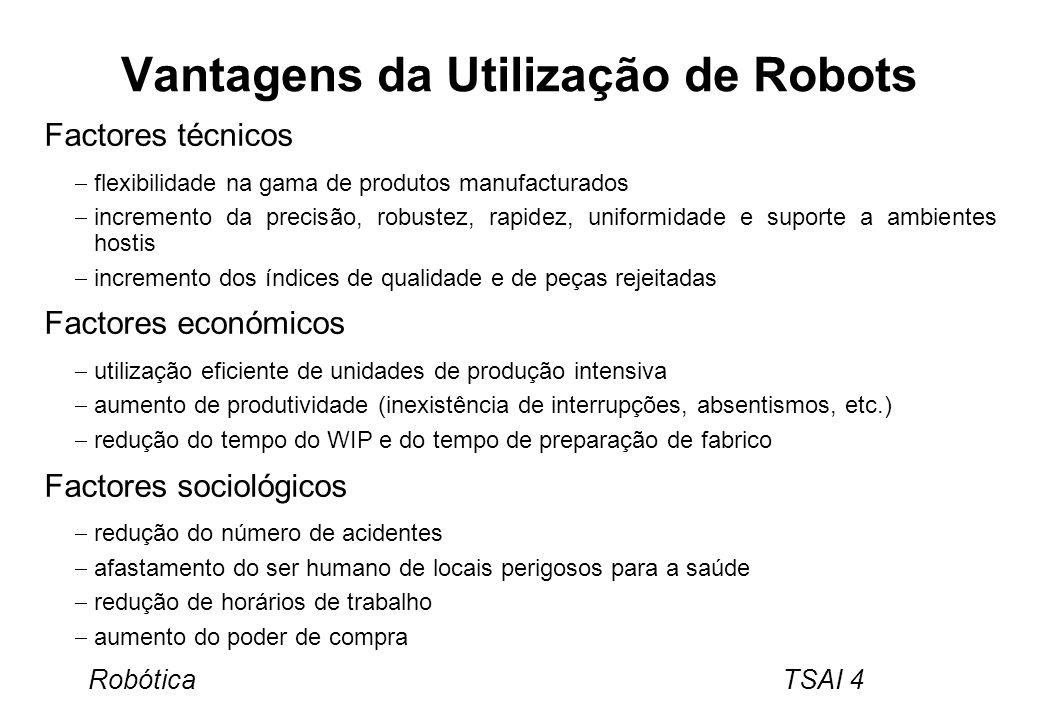 Robótica TSAI 4 Vantagens da Utilização de Robots Factores técnicos flexibilidade na gama de produtos manufacturados incremento da precisão, robustez,