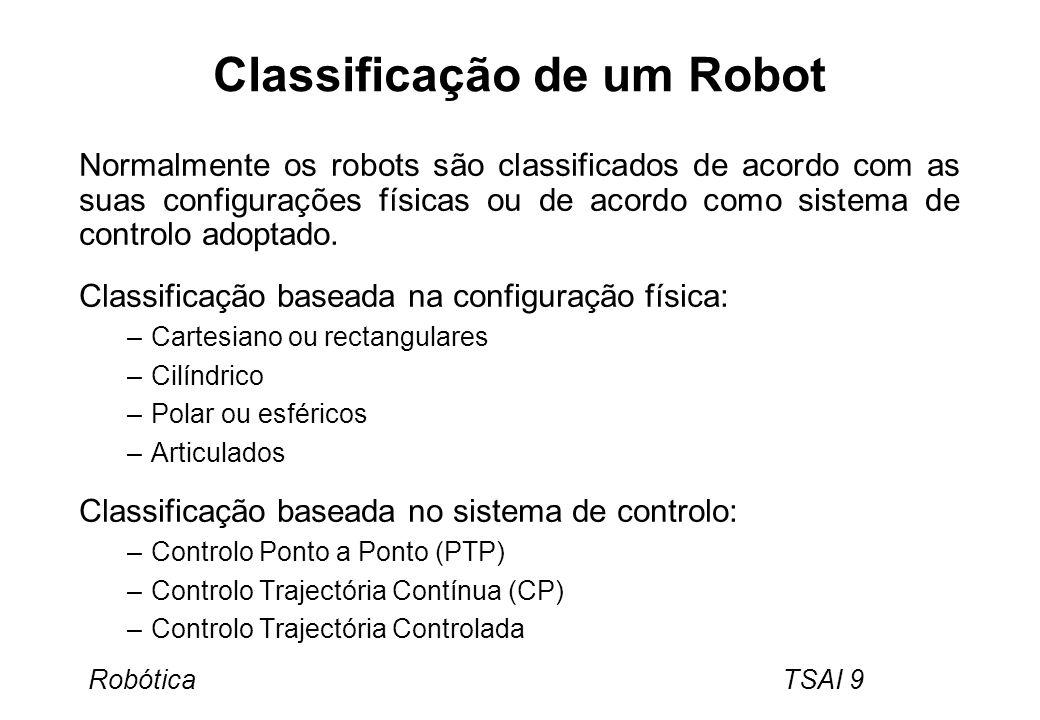 Robótica TSAI 9 Classificação de um Robot Normalmente os robots são classificados de acordo com as suas configurações físicas ou de acordo como sistem
