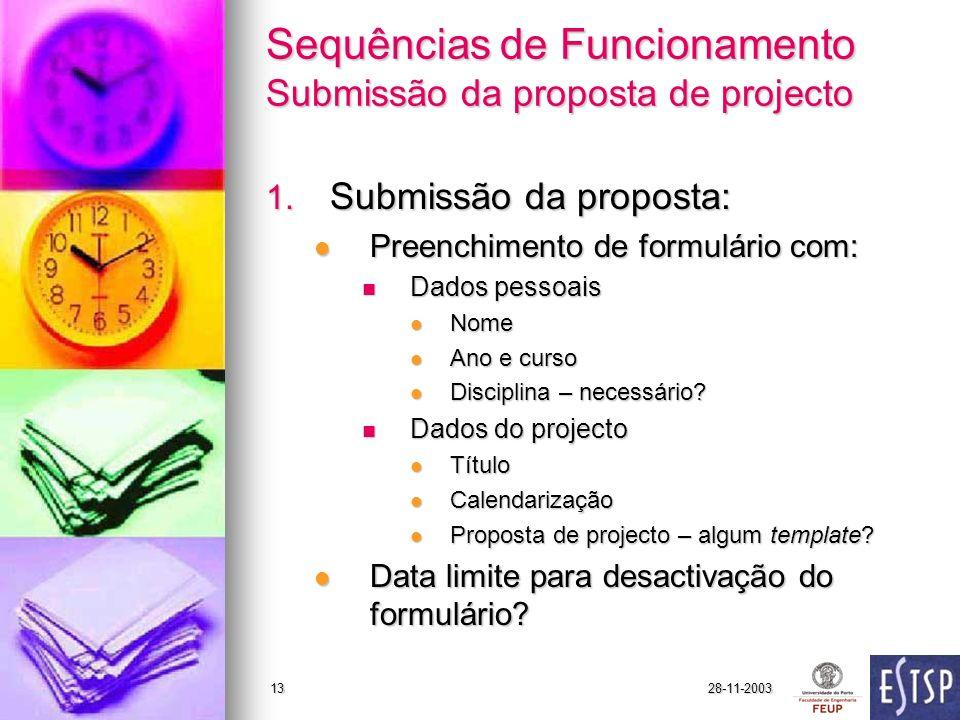 28-11-200313 Sequências de Funcionamento Submissão da proposta de projecto 1.