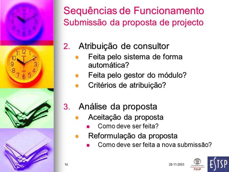 28-11-200314 Sequências de Funcionamento Submissão da proposta de projecto 2.