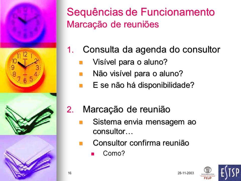 28-11-200316 Sequências de Funcionamento Marcação de reuniões 1.