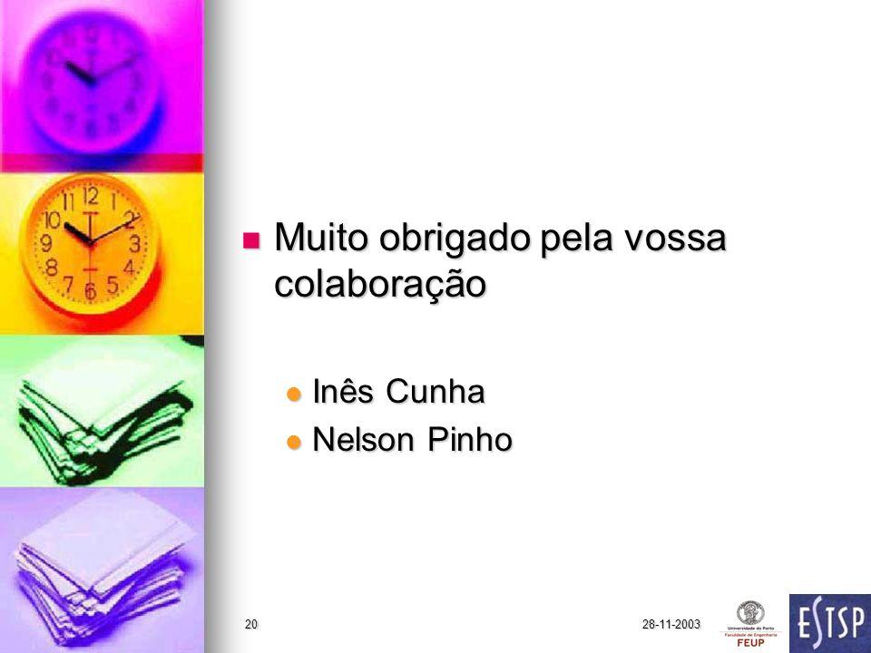 28-11-200320 Muito obrigado pela vossa colaboração Muito obrigado pela vossa colaboração Inês Cunha Inês Cunha Nelson Pinho Nelson Pinho