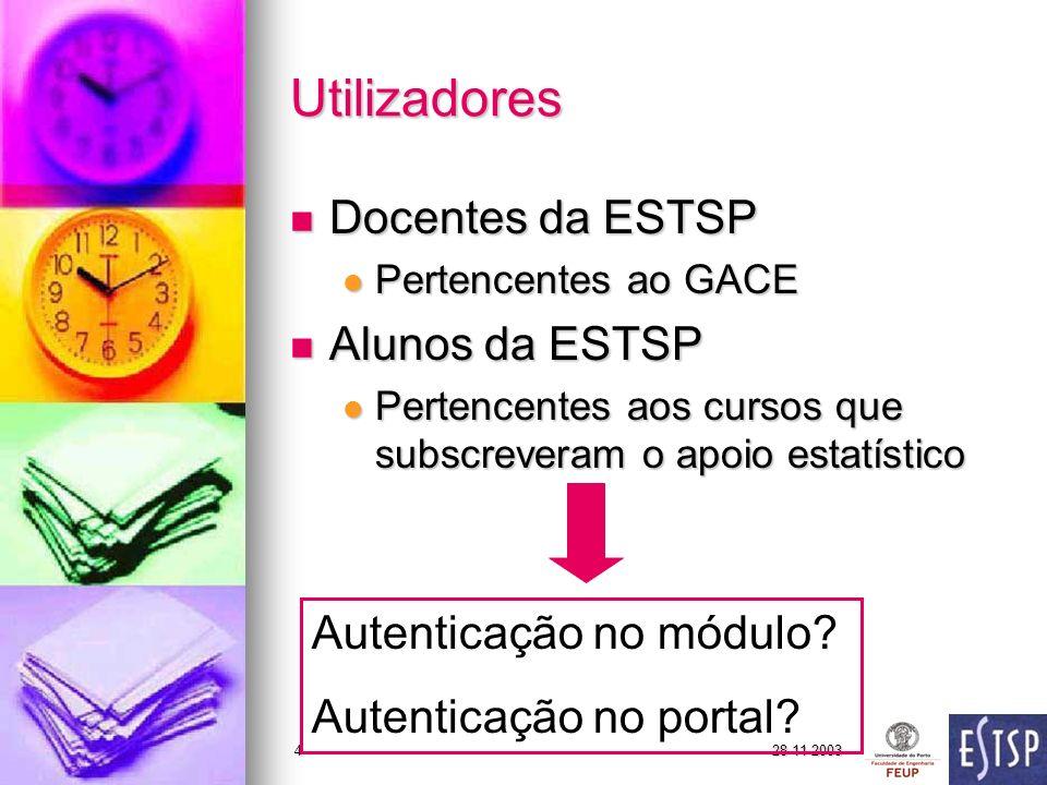 28-11-20034 Utilizadores Docentes da ESTSP Docentes da ESTSP Pertencentes ao GACE Pertencentes ao GACE Alunos da ESTSP Alunos da ESTSP Pertencentes aos cursos que subscreveram o apoio estatístico Pertencentes aos cursos que subscreveram o apoio estatístico Autenticação no módulo.