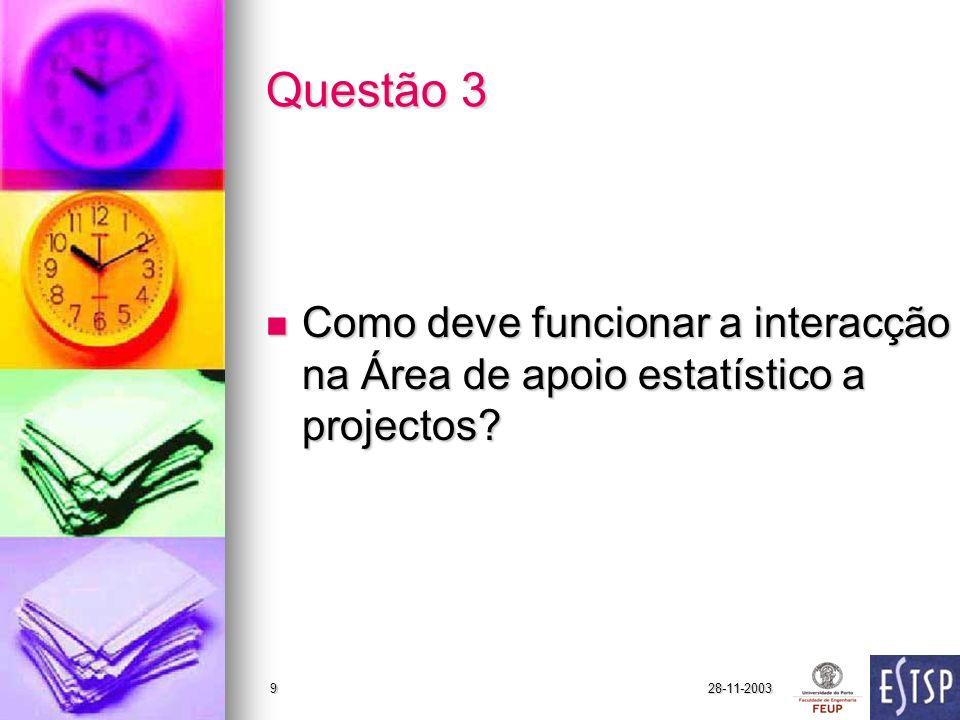 28-11-20039 Questão 3 Como deve funcionar a interacção na Área de apoio estatístico a projectos.