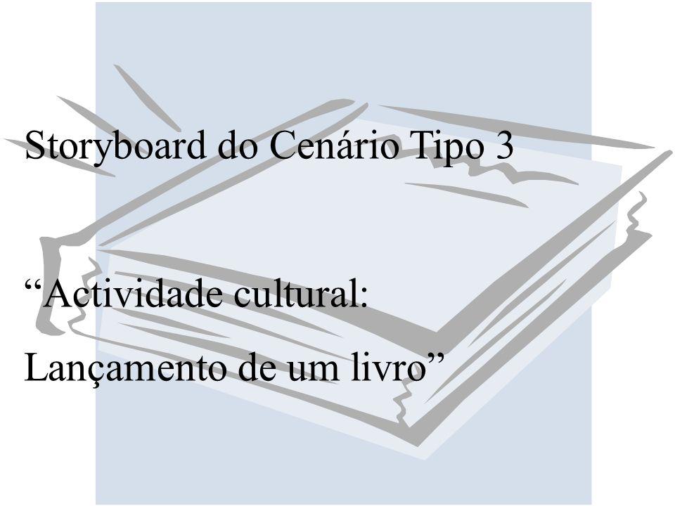 Storyboard do Cenário Tipo 3 Actividade cultural: Lançamento de um livro