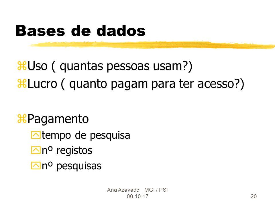 Ana Azevedo MGI / PSI 00.10.1720 Bases de dados zUso ( quantas pessoas usam ) zLucro ( quanto pagam para ter acesso ) zPagamento ytempo de pesquisa ynº registos ynº pesquisas