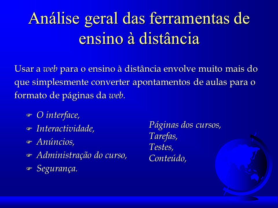 Análise geral das ferramentas de ensino à distância F O interface, F Interactividade, F Anúncios, F Administração do curso, F Segurança.